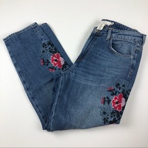 L.O.G.G H&M distressed embroidered flower jeans 12